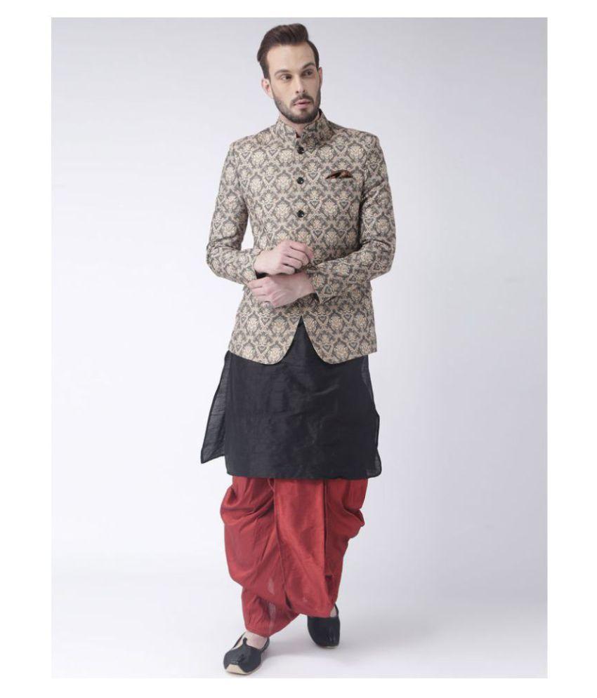 Hangup Multi Silk Blend Dhoti Kurta Set Pack of 3