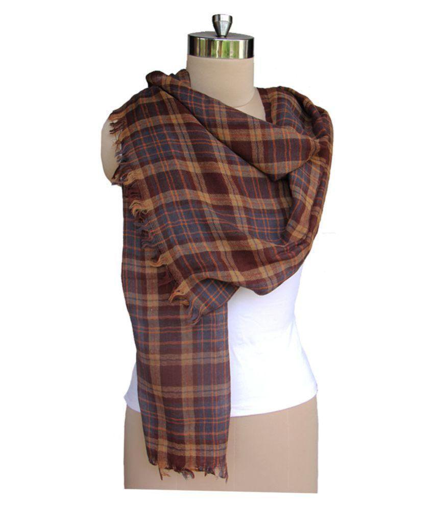 Harbinger Designs Brown Checkered Wool Stoles
