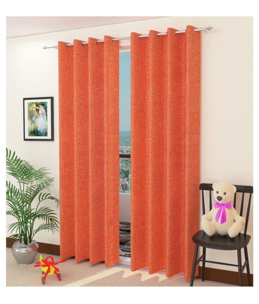 Swarnadeep Set of 2 Window Semi-Transparent Eyelet Jute Curtains Orange
