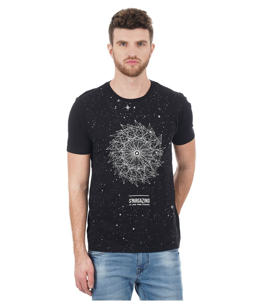 Flying Machine Black Half Sleeve T-Shirt