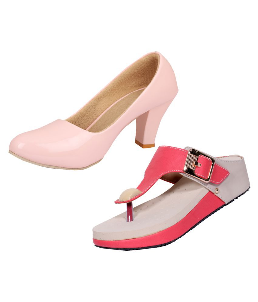 IndiWeaves Pink Wedges Heels