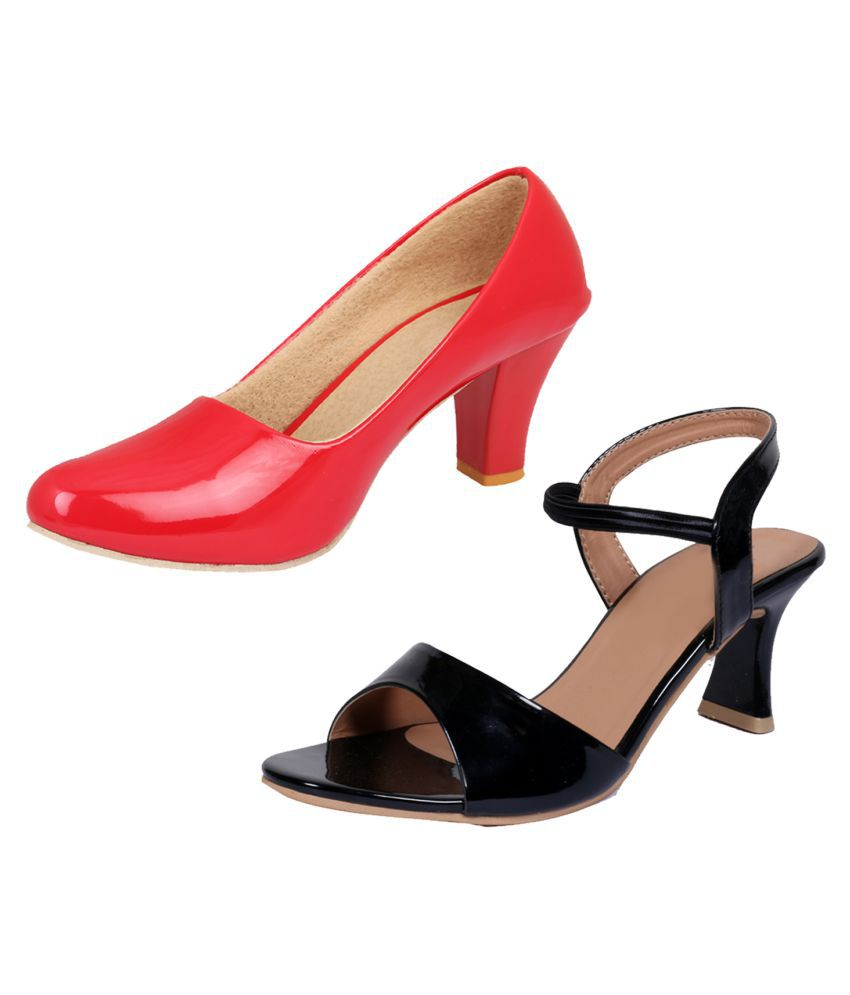IndiWeaves Red Wedges Heels
