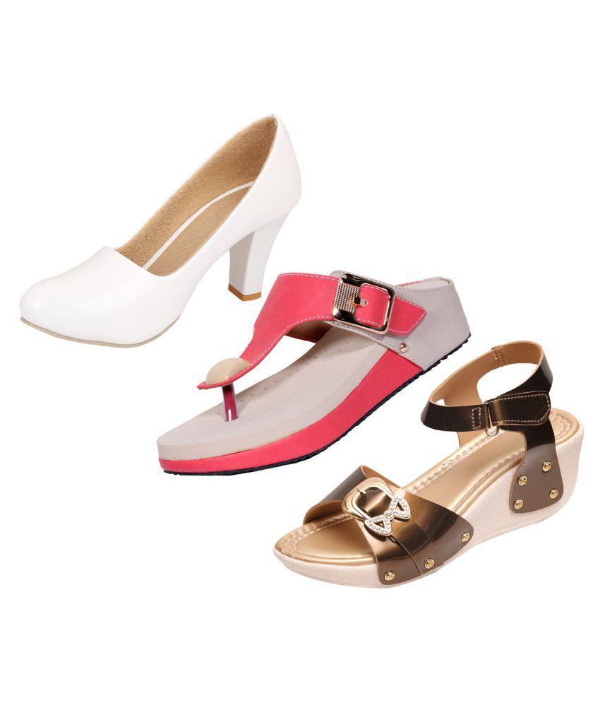IndiWeaves White Wedges Heels