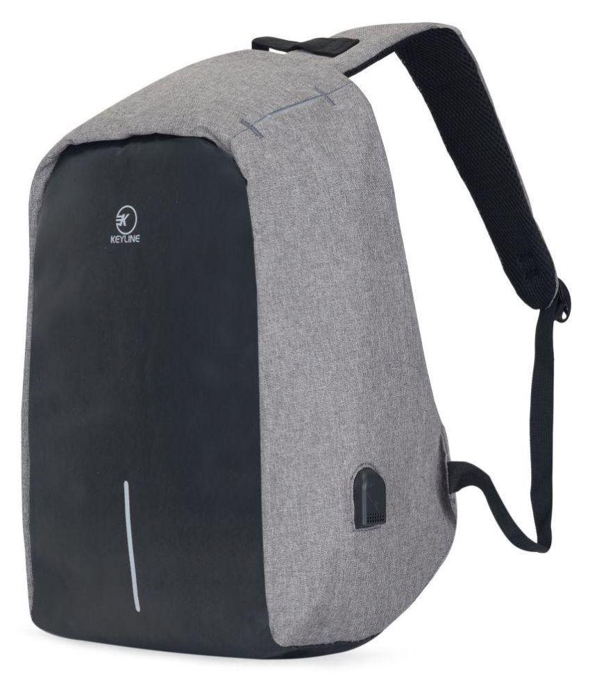 KEYLINE Grey Anti Theft BackPack Backpack