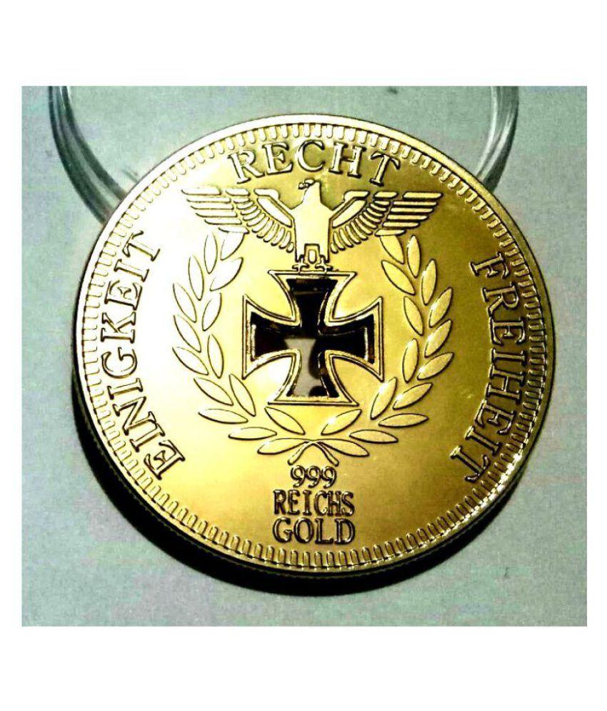 1888 Reichsbank Direktorium Round Recht 24kt Gold Layered in Coin Capsule