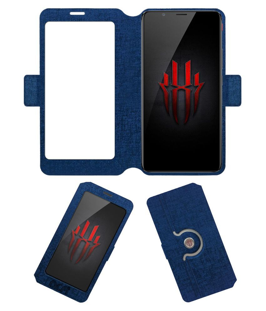 Nubia Red Magic Flip Cover by ACM - Blue Dual Side Stand