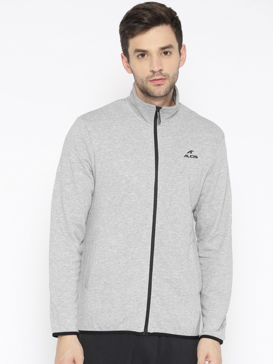 Alcis Grey Cotton Polyester Fleece Jacket Single Pack