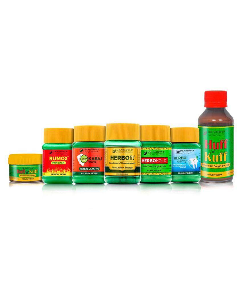 Dr. Vaidya's Ayurvedic Home Health Pack - Huff N Kuff Lozenges (50 Pills X 1), Rumox Balm (50g X 1), Kabaj Churna (50g X 1), HERBOfit (30 capsules X 1), Herbokold (5og X 1), Herbodanty (50g X 1), Huff N Kuff Syrup (100ml X 1).