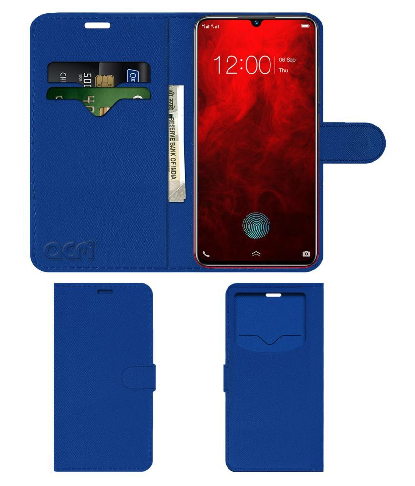 Vivo V11 Pro Flip Cover by ACM - Blue Wallet Case,Can store 2 Card & 1 Cash Pockets