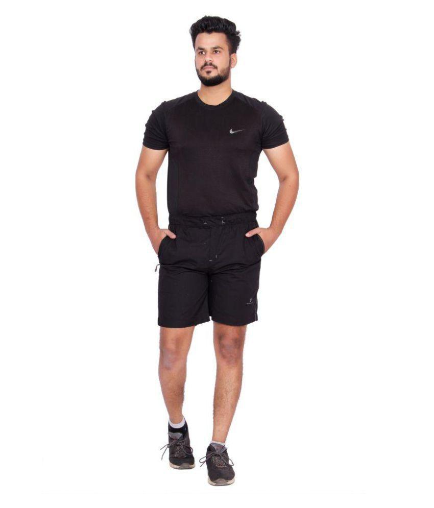 Kuber Industries Cotton Bermuda shorts for men (Black)