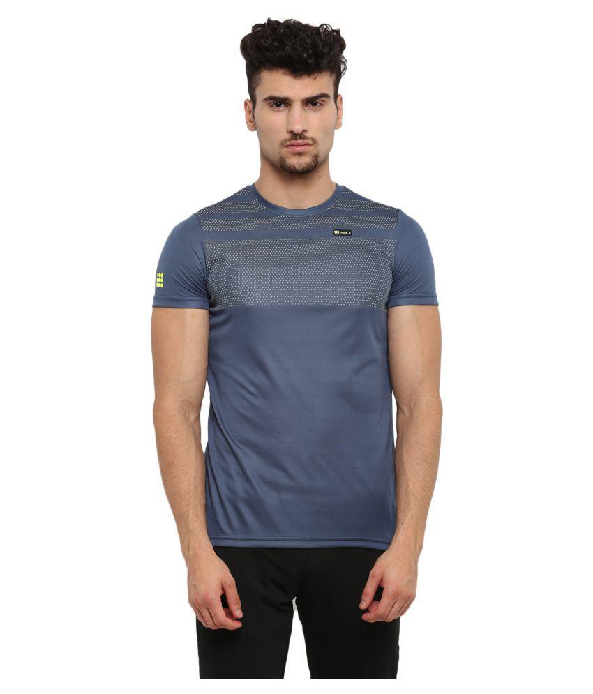 Rock.it Mens Navy Blue Printed Round Neck SWIFT DRI T-Shirt