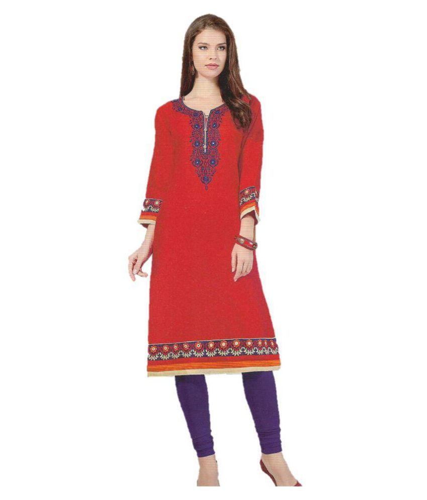FLAWSOME STORES Red Cotton Straight Kurti