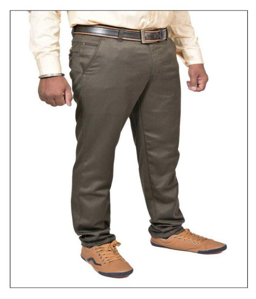 Just Trousers Green Regular -Fit Flat Trousers