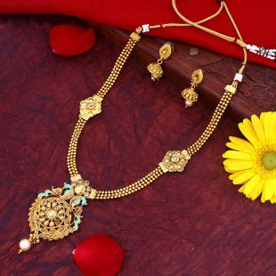 8d63cf9fc875d Sukkhi Alloy Golden Long Haram Traditional 18kt Gold Plated Necklaces Set +  Free Pair of Earrings of Worth INR.199/-