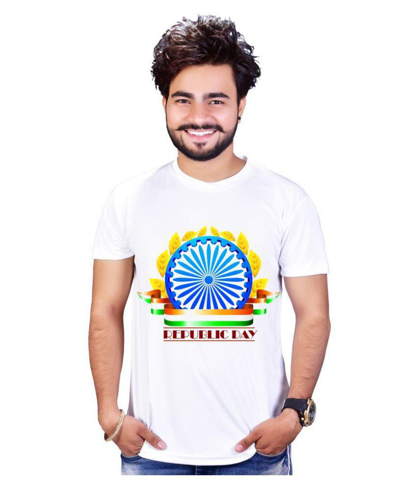 RABHASS White Polyester T-Shirt Single Pack
