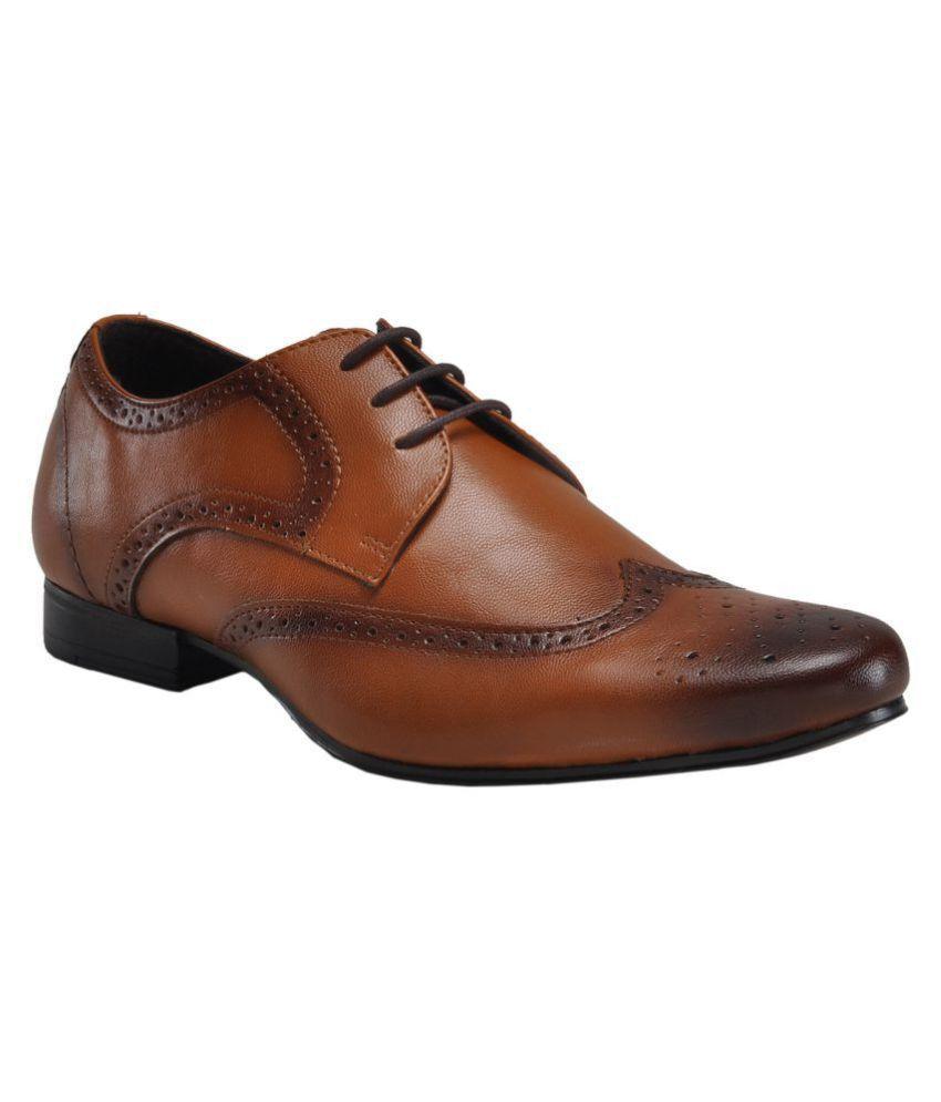 Franco Leone Brogue Non-Leather Tan Formal Shoes