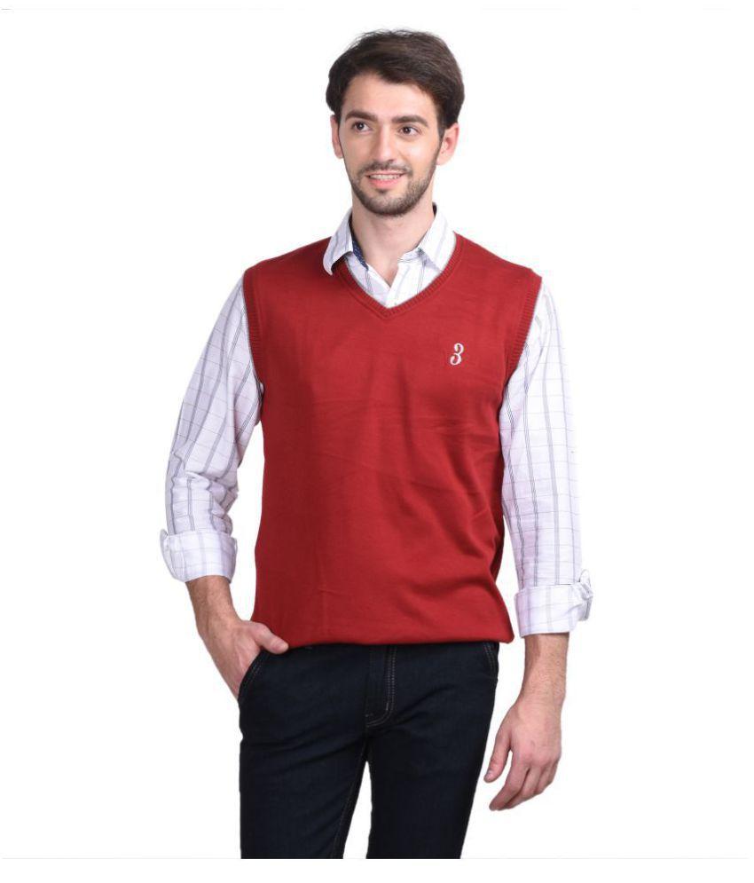 Galatea Maroon V Neck Sweater