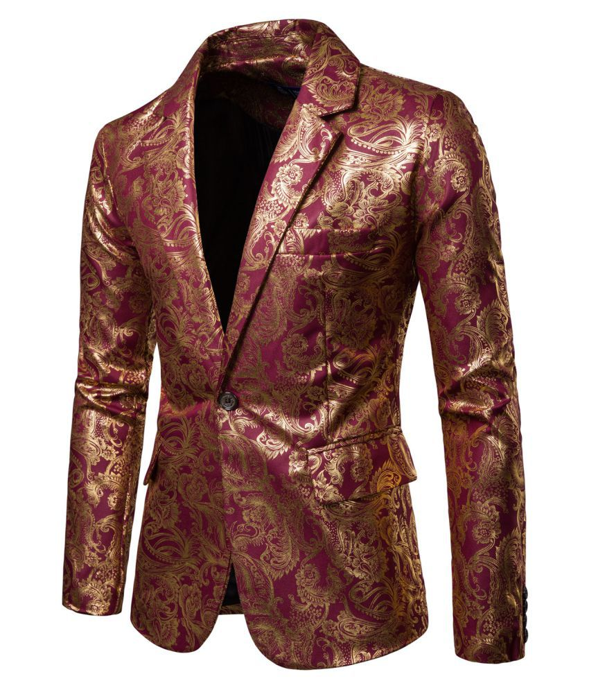 e15179488b Haorun Glitter Bronzing Suit Jacket Floral Print Single Button Blazer  Nightclub Stage Costume