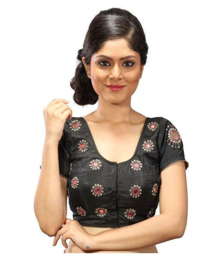 Intrigue Black Silk Readymade with Pad Blouse
