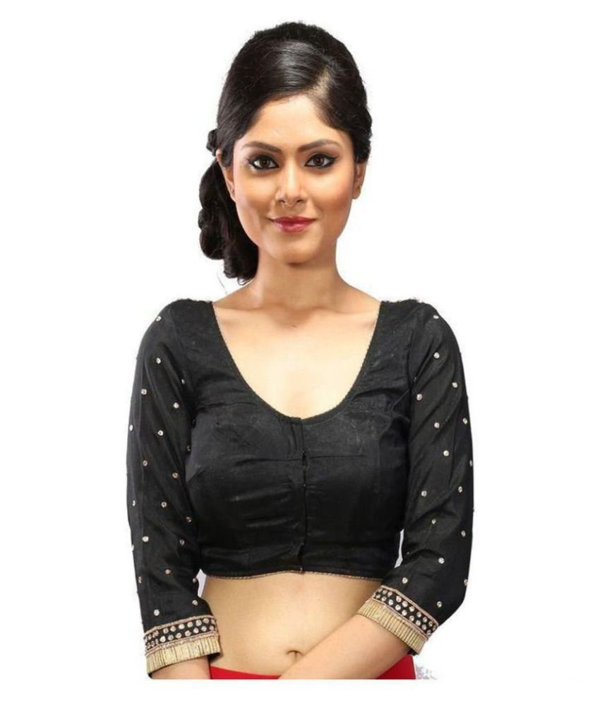 Intrigue Black Silk Readymade without Pad Blouse