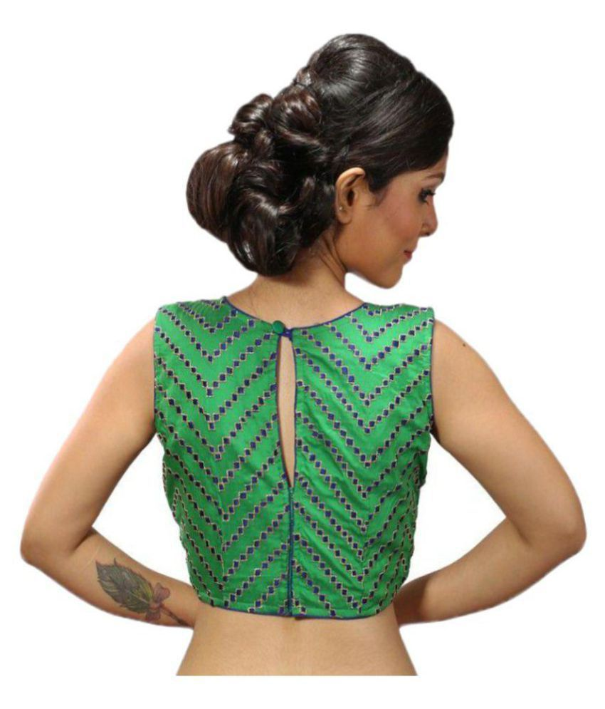 Intrigue Green Silk Readymade without Pad Blouse