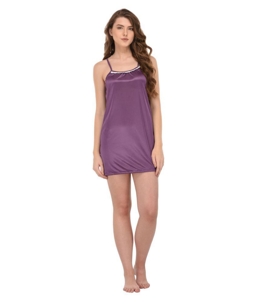 45862bf154 Buy You Forever Satin Night Dress - Purple Online at Best Prices in India -  Snapdeal