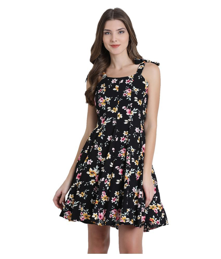 Zink London Rayon Black Fit And Flare Dress