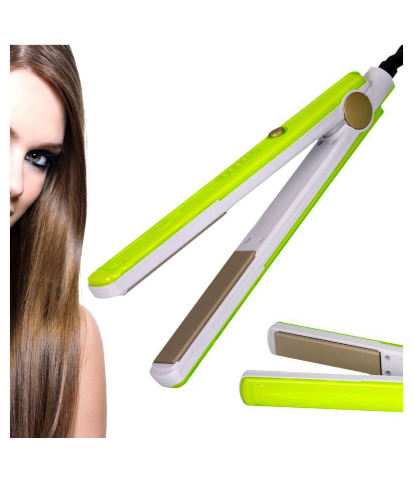 Jm Temperature Control Travel Professional Hair Straighteners Flat Iron 45W Hair Straightener ( Green & White )