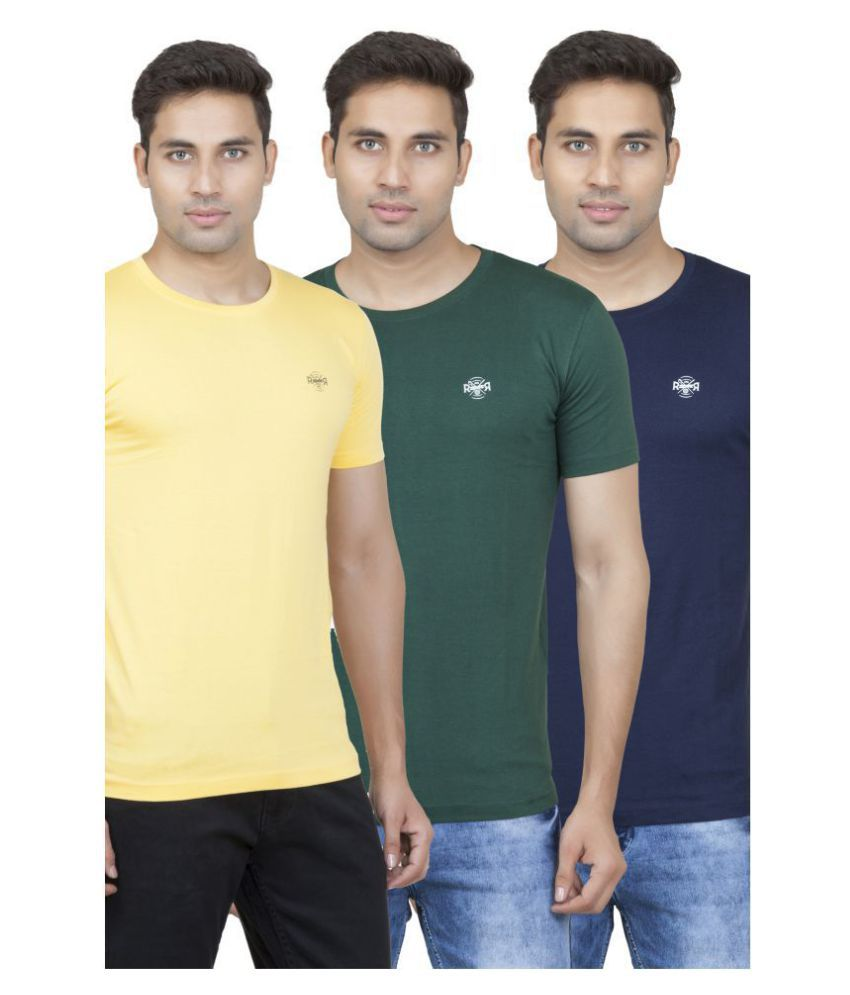 ROAD ROCKERS Yellow Round T-Shirt Pack of 3