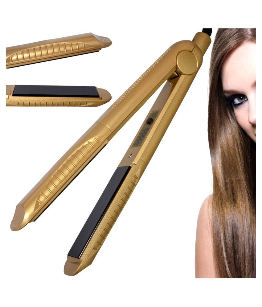 SJ Temperature Control Professional Travel Hair Straighteners Flat Iron 45W Hair Straightener ( Golden )