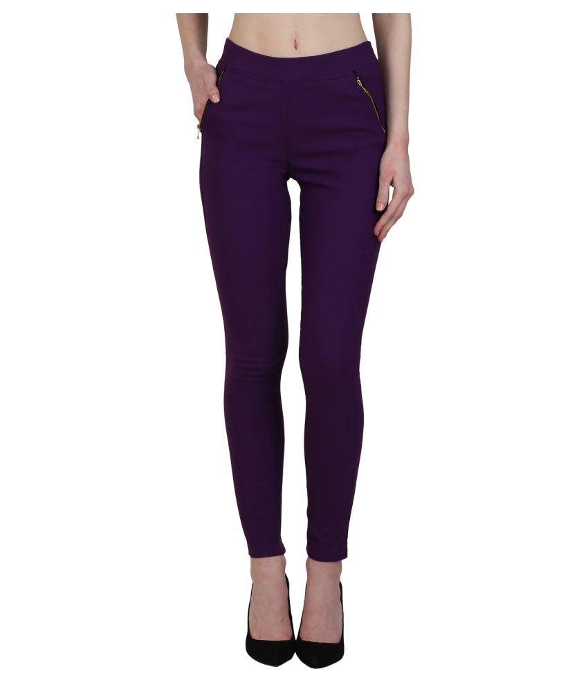 Kalakaari Cotton Lycra Jeggings - Purple
