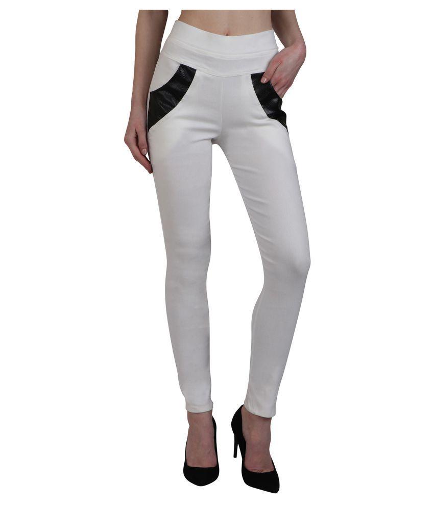 Kalakaari Cotton Lycra Jeggings - White