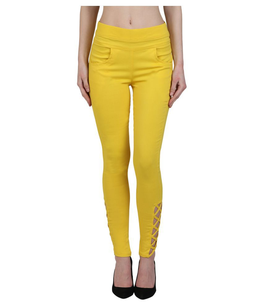 Kalakaari Cotton Lycra Jeggings - Yellow