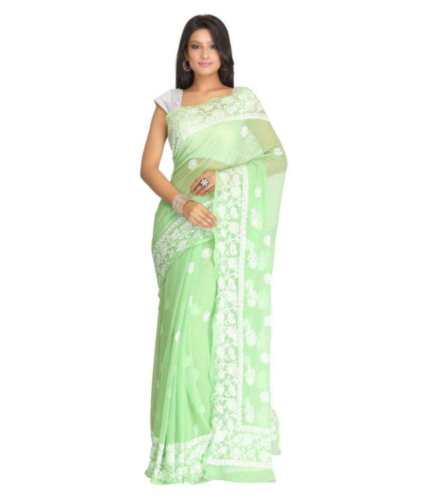 Ada Green Georgette Saree