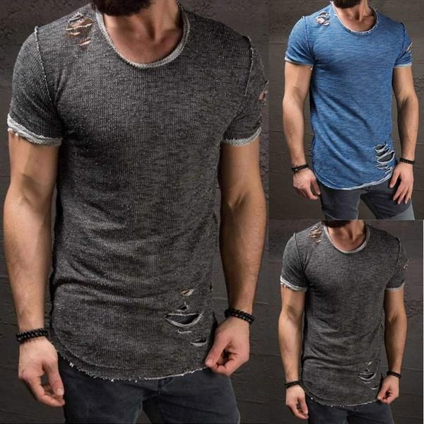 New Fashion Short Sleeve Shirt Round Neck Tops Men's Summer Tights Sports Fitness Wear T-shirt Hole