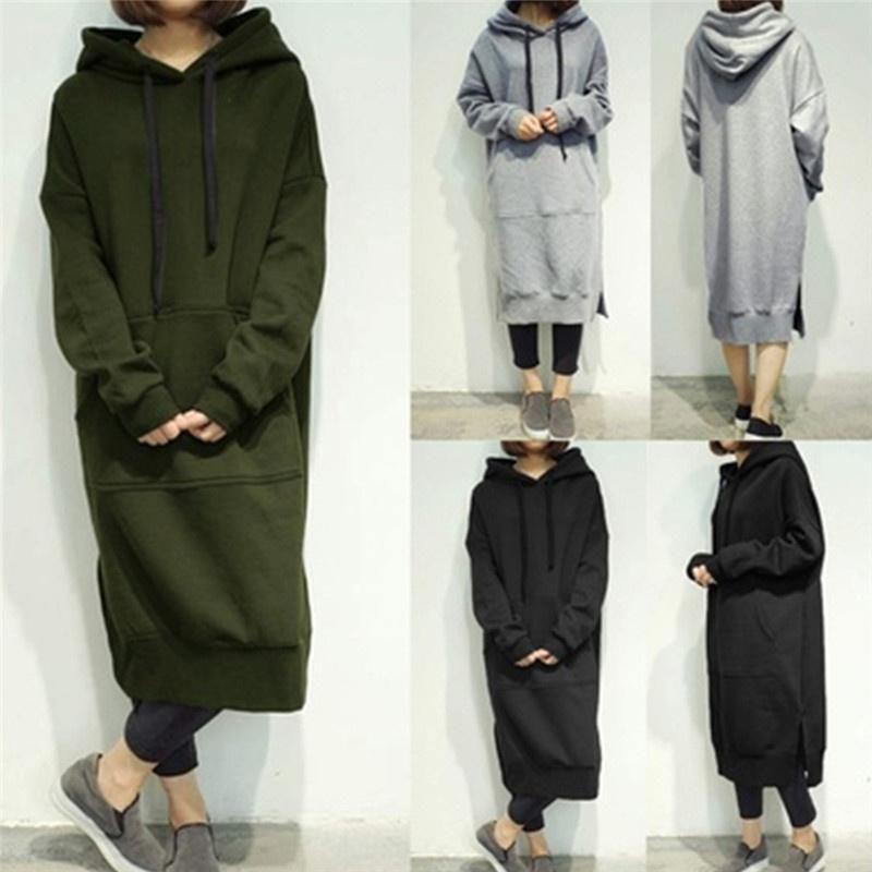 Women Hooded Long Hoodies Tops Loose Fleece Lined Casual Plus Long Dress