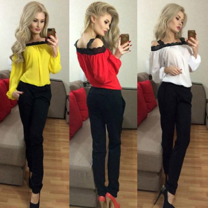 30f61068c0170a Women Sexy Off Shoulder Long Sleeve Shirt Lace Chiffon Blouse Loose Top T  Shirt ...