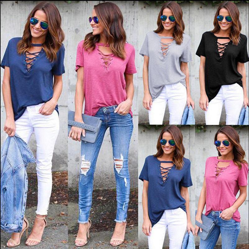 fc50ef80585 ... Summer T-Shirt Women Fashion Short Sleeve V Neck Bandage Tee Shirts  2017 Sexy Lace ...