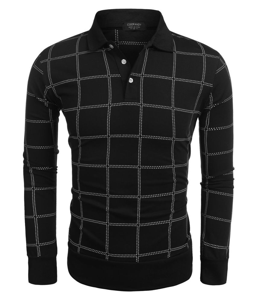 Men Long Sleeve Turn Down Collar Plaid Polo Shirts Casual Tops