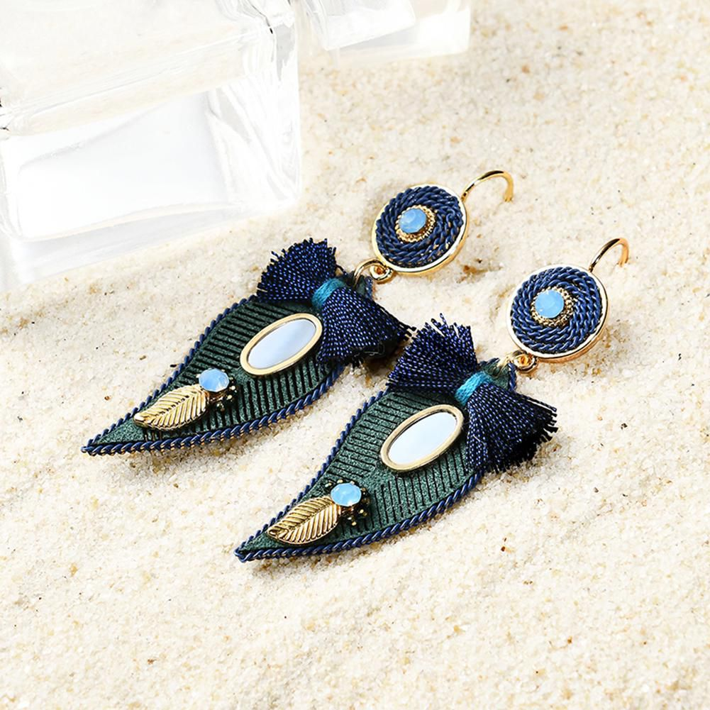 Ethnic Retro Peacock Feather Dangle Women Cocktail Statement Earrings Jewelry
