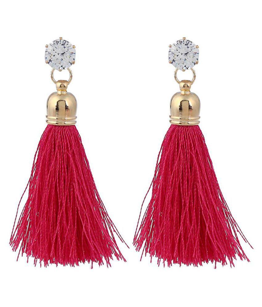 Fashion Long Tassel Dangle Rhinestone Stud Earrings Women Celebrity Jewelry Gift