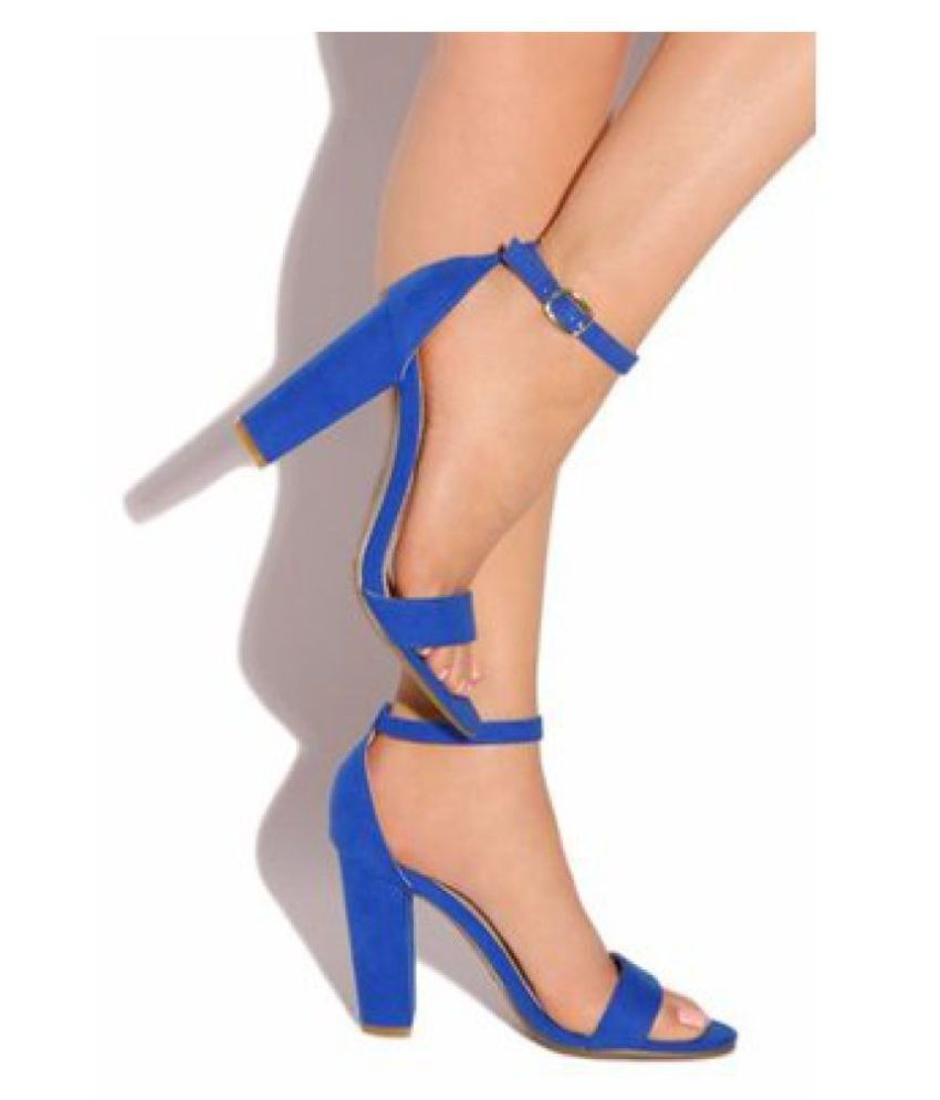 66a6a92677e SHOFIEE Blue Block Ankle Strap Heels Price in India- Buy SHOFIEE Blue Block  Ankle Strap Heels Online at Snapdeal