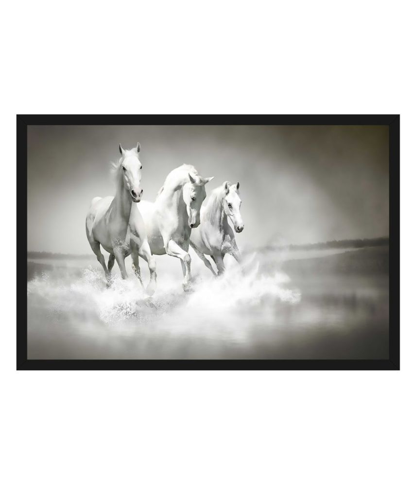 HK PRINTS Horse Painting With Frame 14X20 Inch Wood Painting With Frame