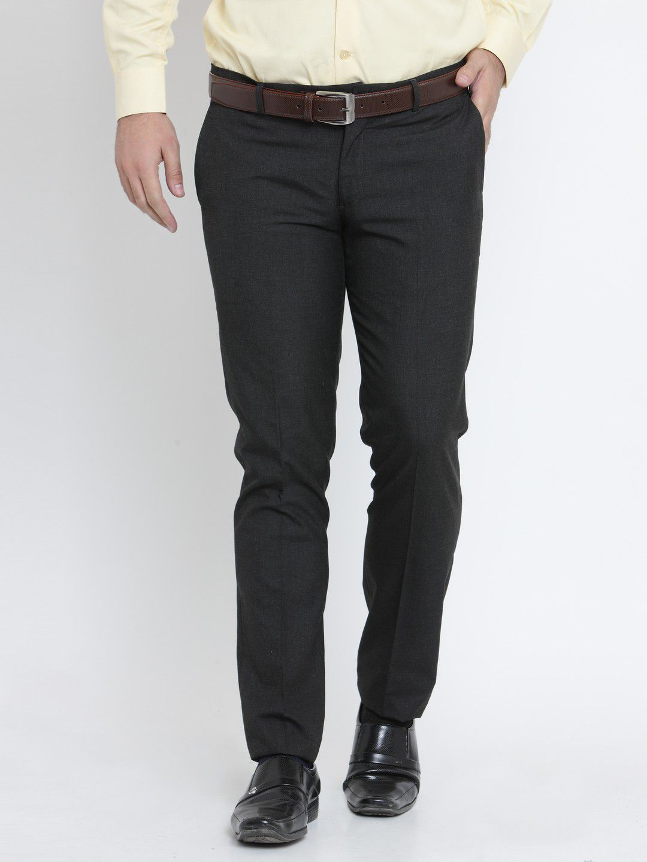 John Players Navy Blue Slim -Fit Flat Trousers