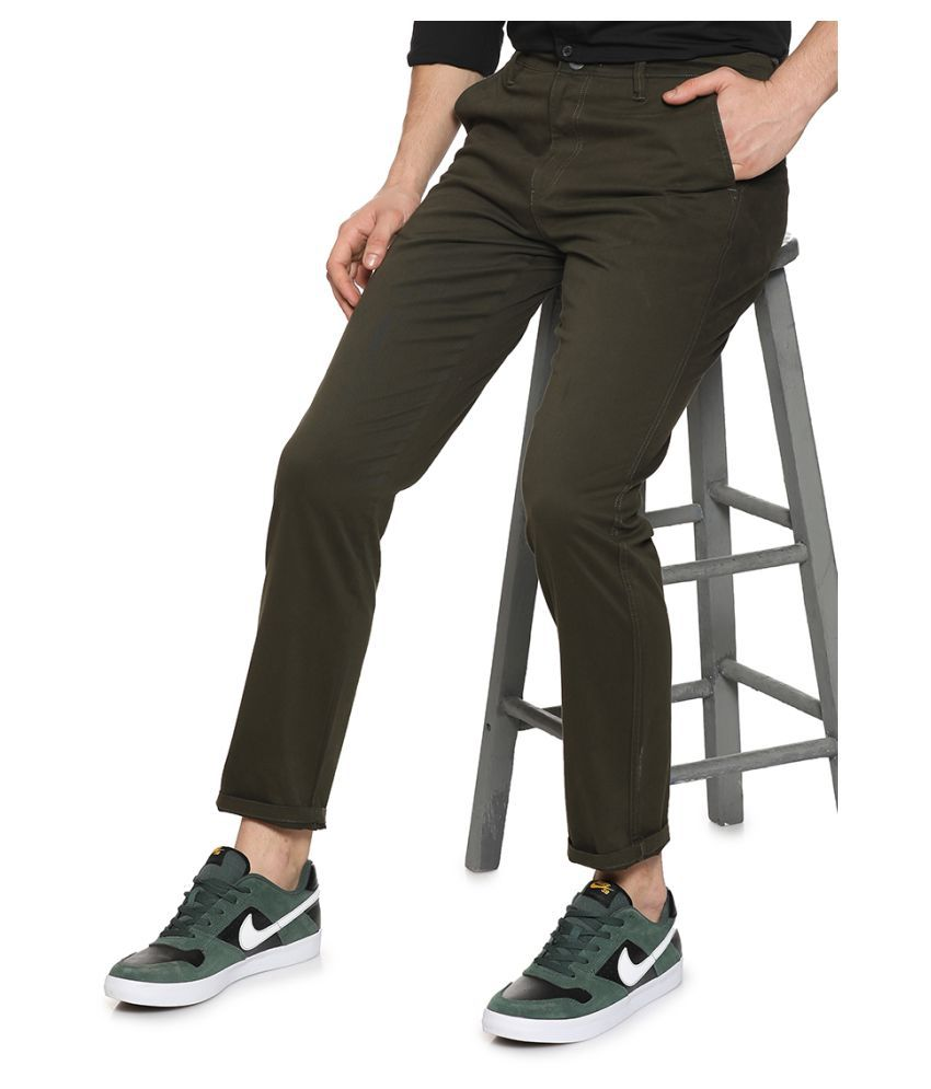 Campus Sutra Olive Green Slim -Fit Flat Trousers