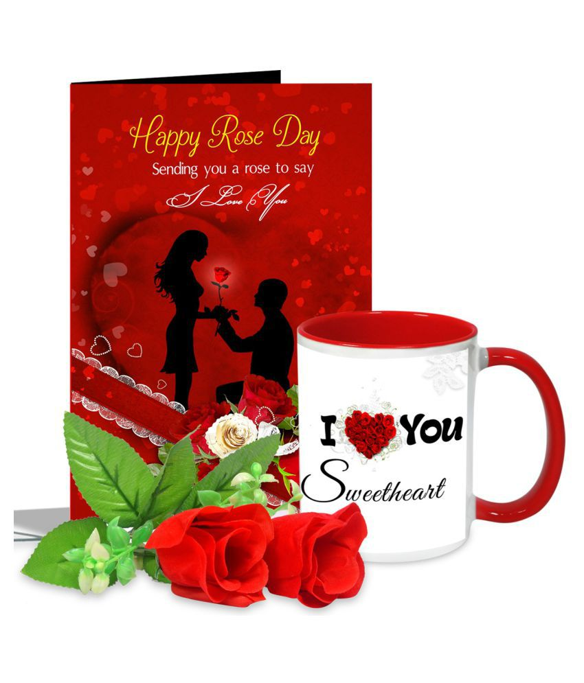 AlwaysGift Ceramic Valentine Hamper Multicolour - Pack of 4