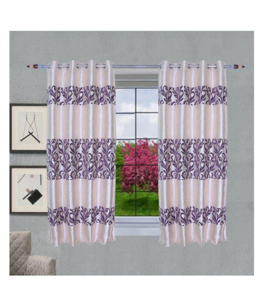 PardaOnline Single Window Semi-Transparent Eyelet Blends Curtains Purple