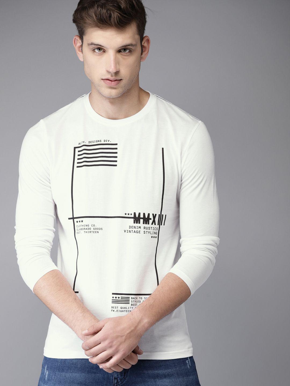 Elaborado White Full Sleeve T-Shirt
