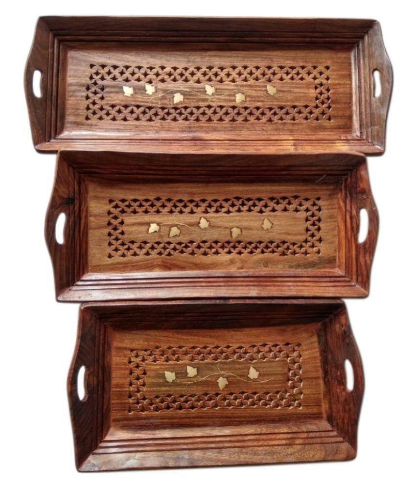 Handicraft Wooden Serving Tray Set (Pack of 3)