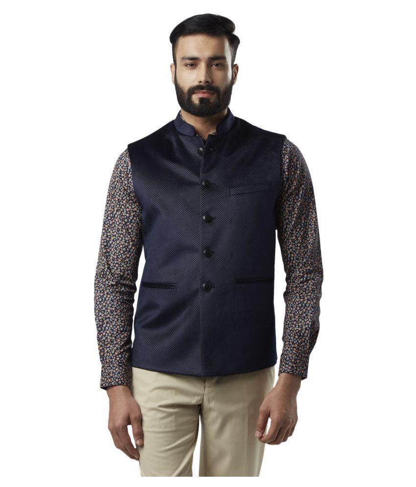 Raymond Blue Self Design Formal Waistcoats